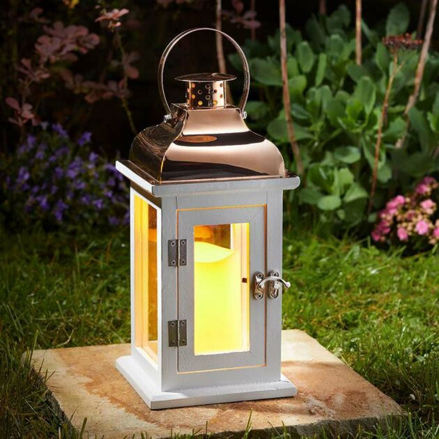 Outdoor Battery Wooden Candle Lantern, 31cm