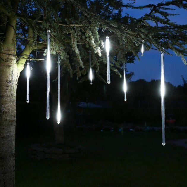 8m Outdoor Christmas Icicle Tube Lights, 5 x 100cm Drop