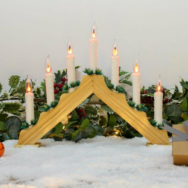 37cm Wooden Flickering Candle Bridge, Realistic Flame LEDs