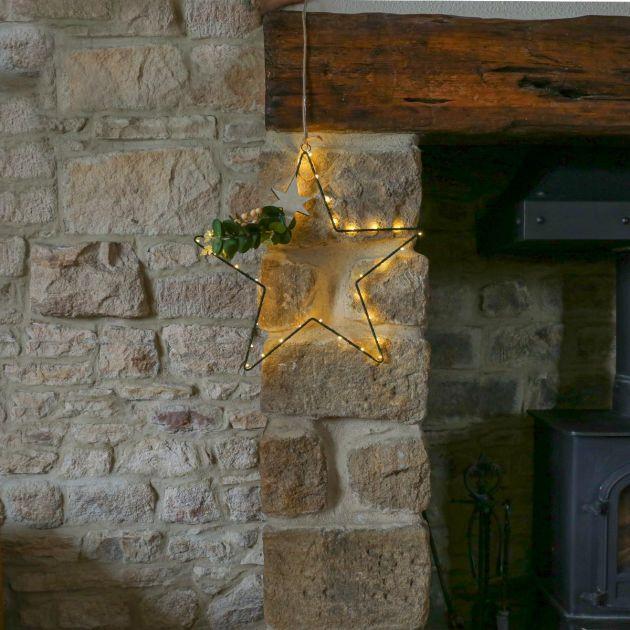 40cm Hanging Eucalyptus Star Christmas Decoration, Warm White LEDs