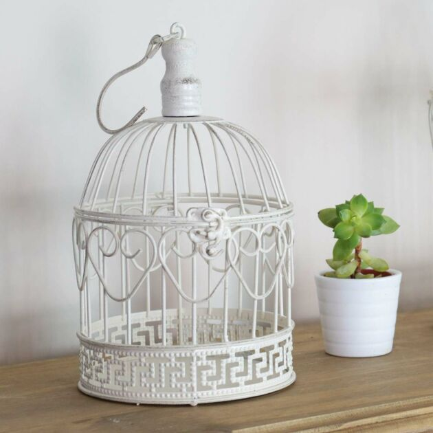 White Shabby Chic Bird Cage, 27cm