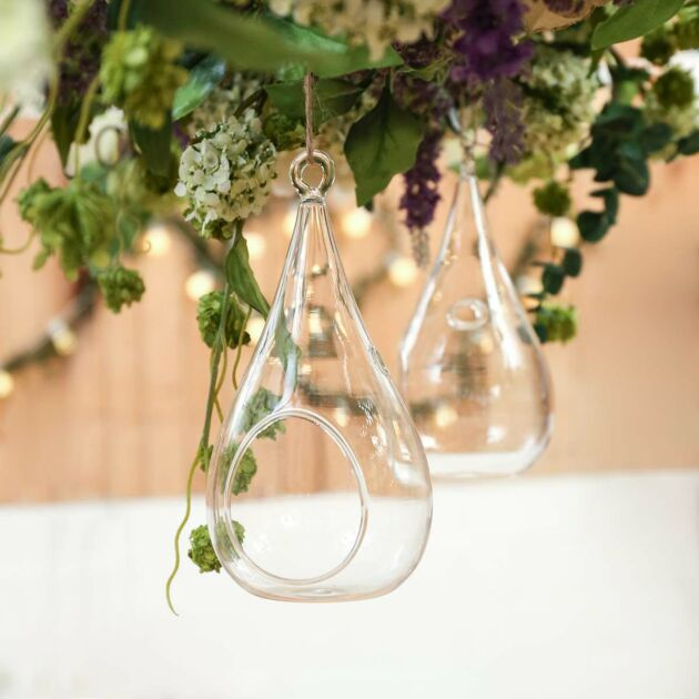 Glass Teardrop Terrarium LED Tea Light Holder, 2 Pack
