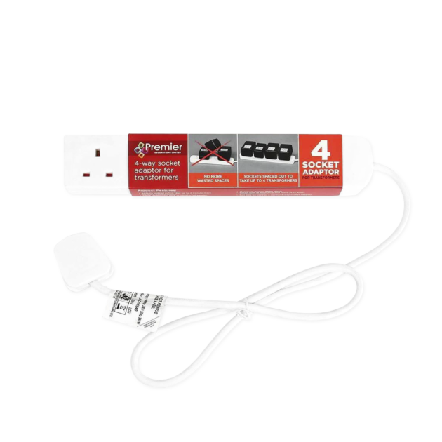 White Extension Lead, 4 Way Gang