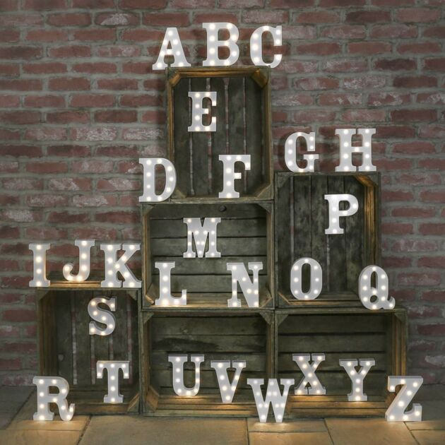 Alphabet A-Z Marquee Battery Light Up Circus Letter, Warm White LEDs, 16cm