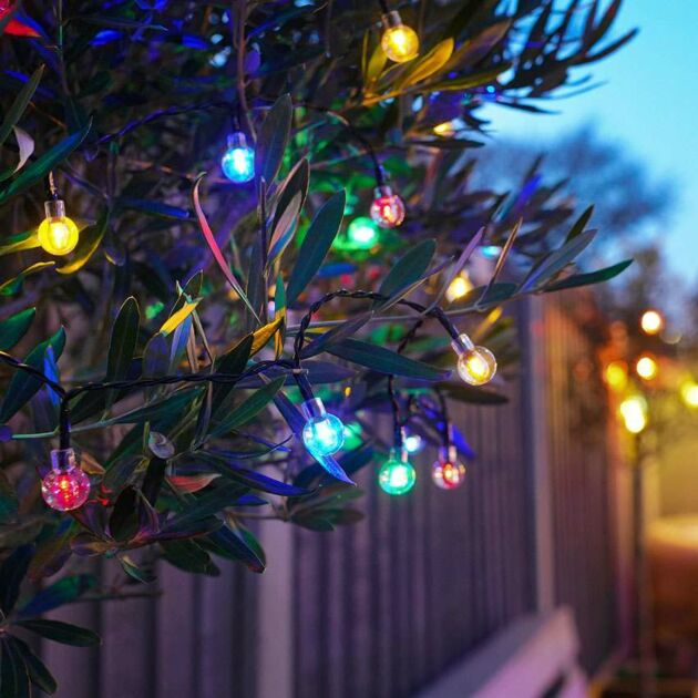 10m Solar Multi Function Clear Berry Fairy Lights