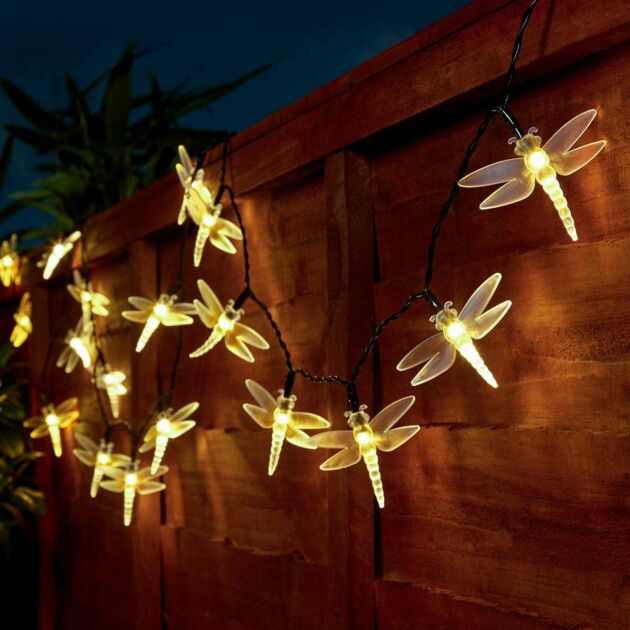 5m Outdoor Battery Dragonfly Fairy Lights, Warm White LEDs, Green Cable