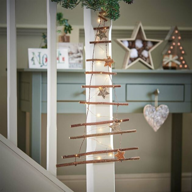 Battery Decorative Wooden Branch Hanging Christmas Tree Wall Light Ladder