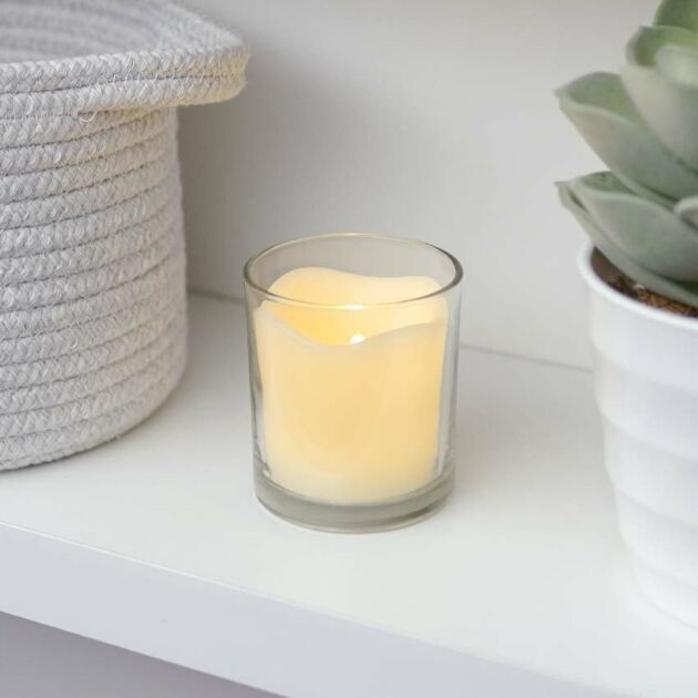Battery Vanilla Scented Flickering LED Glass Candle