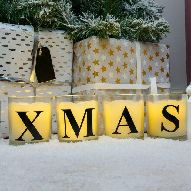 Alphabet 'XMAS' Battery Vanilla Scented Flickering LED Glass Jar Candle