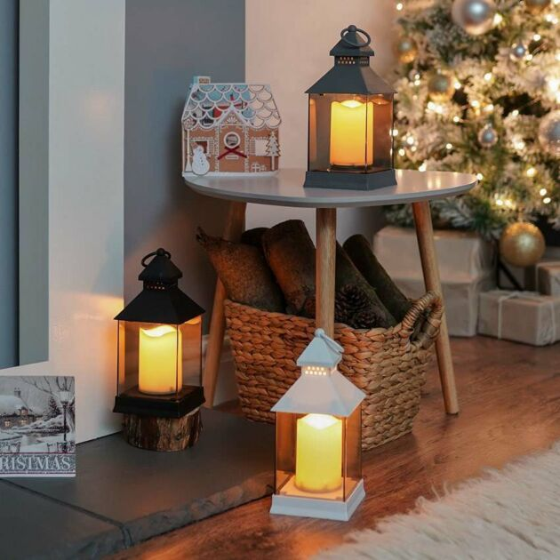 Outdoor Battery Smoked Glass Effect Flickering Candle Lantern, 24cm