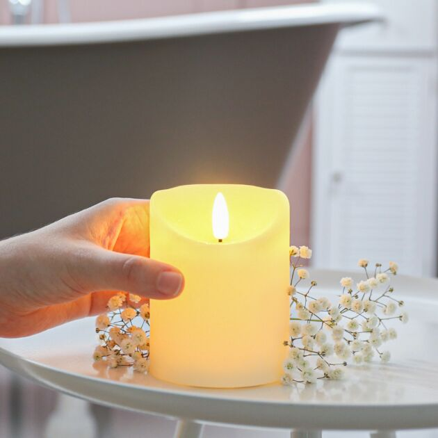 Ivory Battery Real Wax Authentic Flame LED Candle, 10cm