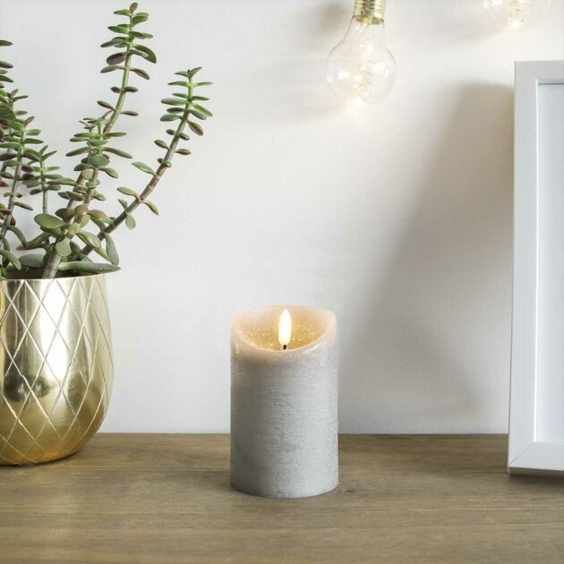 Grey Battery Real Wax Authentic Flame LED Candle, 12.5cm