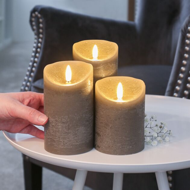 Grey Battery Real Wax Authentic Flame LED Candle, 3 Pack