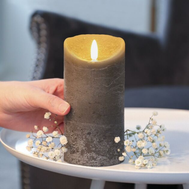 Grey Battery Real Wax Authentic Flame LED Candle, 15cm