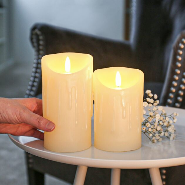 Ivory Battery Real Dripping Wax Authentic Flame LED Candle, 2 Pack