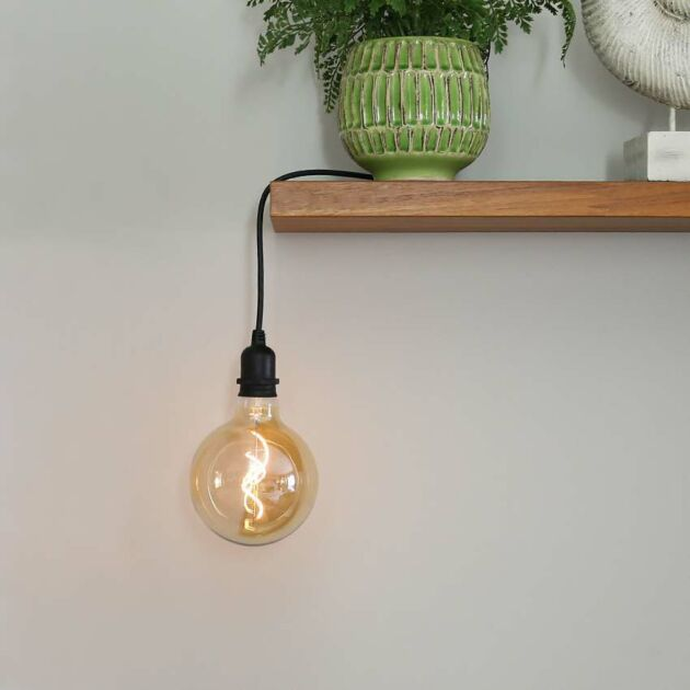 Outdoor Battery Tinted G125 Filament Style, Warm White LED Light Bulb on Cord