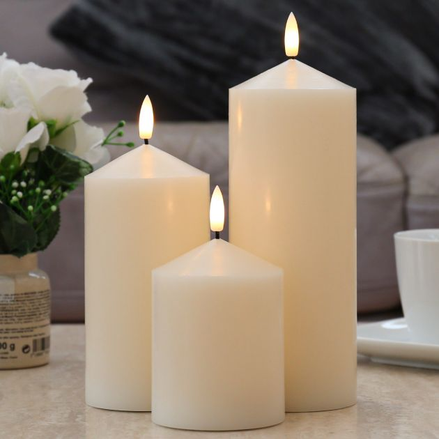 Ivory Battery Real Wax Authentic Flame LED Chapel Candle, 3 Pack