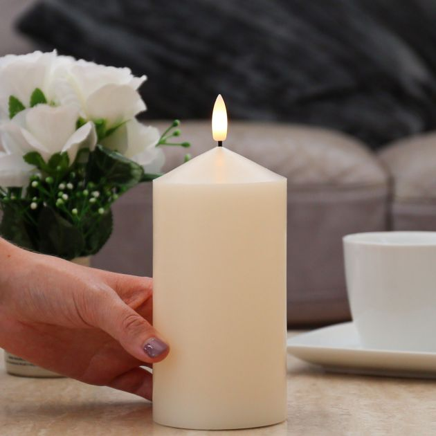 Ivory Battery Real Wax Authentic Flame LED Chapel Candle, 18cm