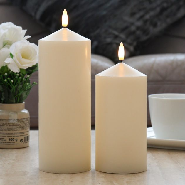 Ivory Battery Real Wax Authentic Flame LED Chapel Candle, 2 Pack