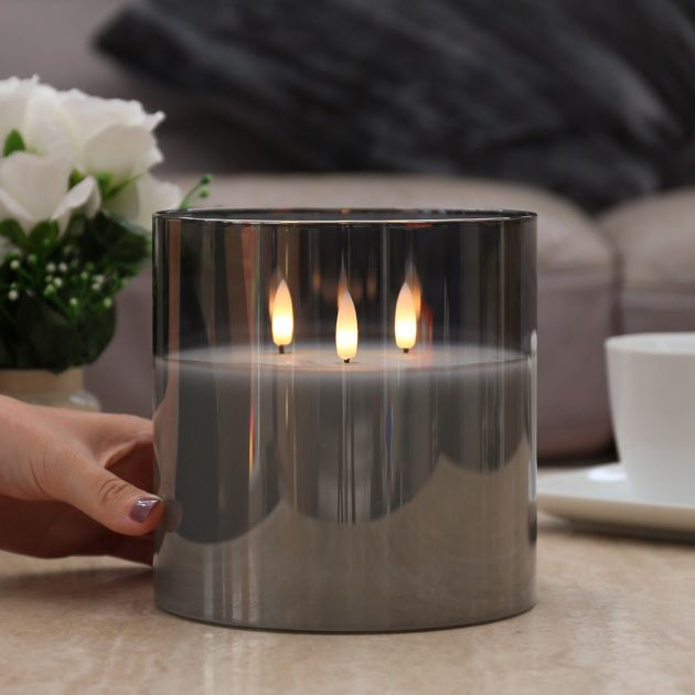 3 Wick Grey Battery Wax Authentic Flame Candle in Smoked Glass Cylinder