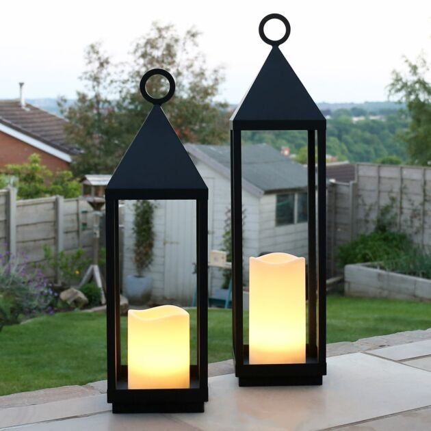 Outdoor Battery Oslo Candle Lantern, 2 Pack