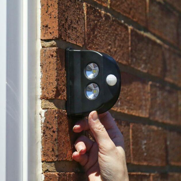 Outdoor Black Battery Operated Wall Light with Motion Sensor