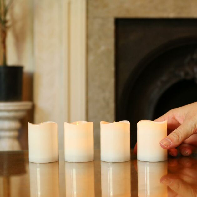 Outdoor Battery Operated White LED Candles, 4 Pack