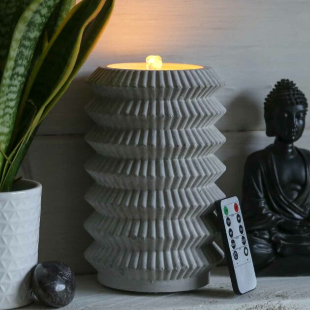Battery Concrete Effect Bubbling Water LED Candle