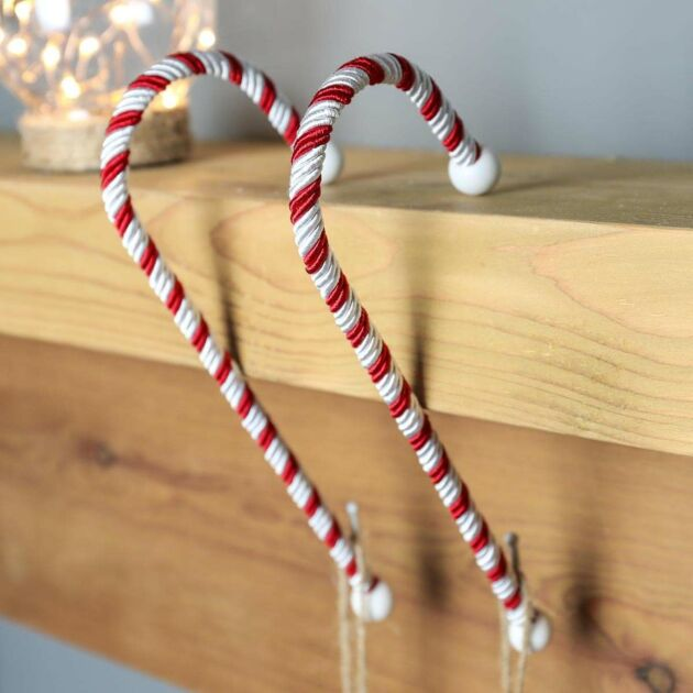 Candy Cane Christmas Stocking Holder, 2 Pack
