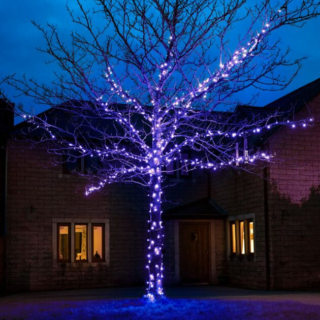 45m Blue Fairy Lights, Connectable, 450 LEDs, Dark Green Cable