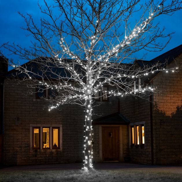 5m White Fairy Lights, Connectable, 50 LEDs, Dark Green Cable