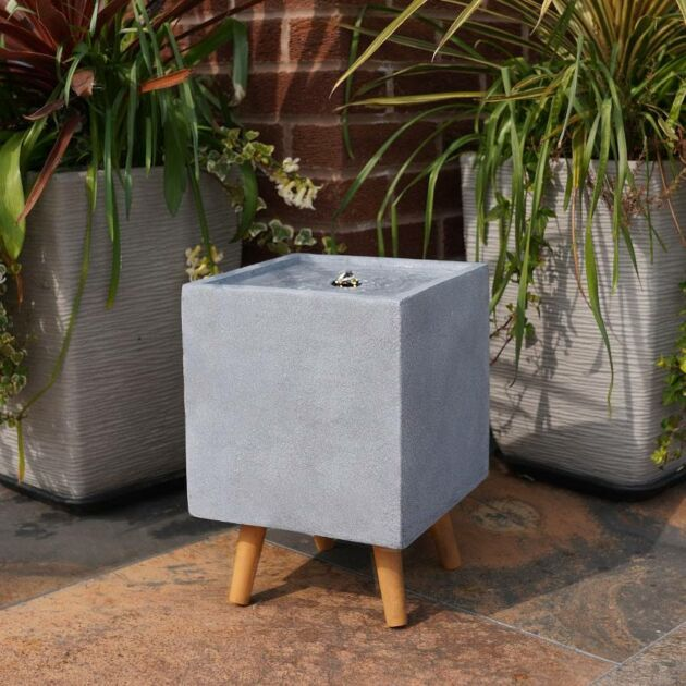 Plug In Outdoor Square Stone Effect Water Feature with Light