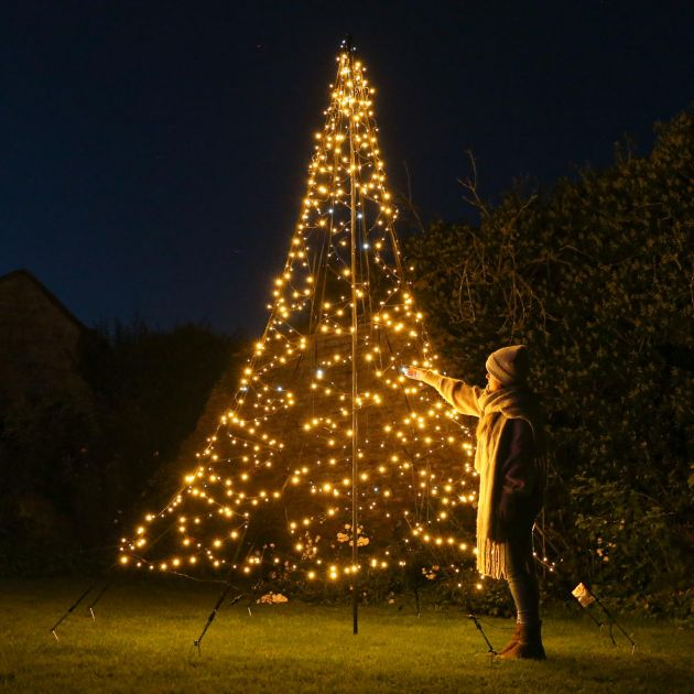 4m Outdoor FairyBell Pre-Lit Tree, 640 Warm White with Twinkle LEDs