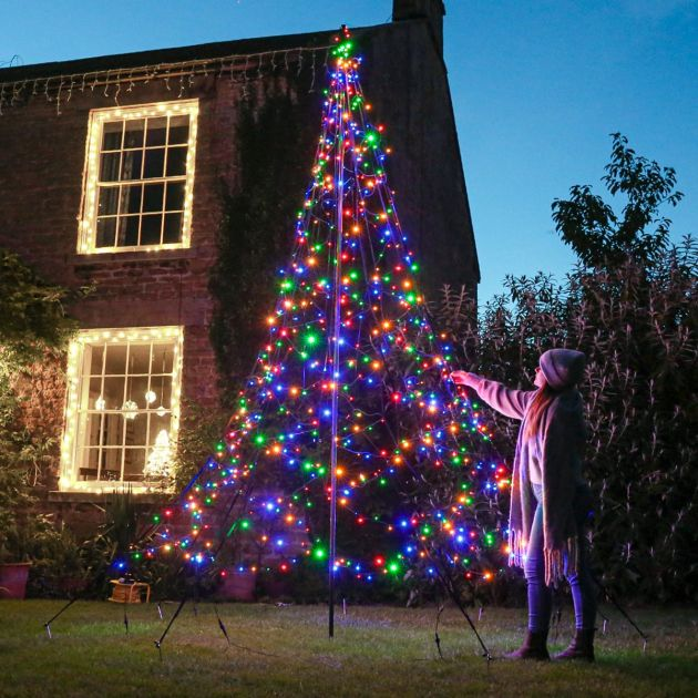 4m Outdoor FairyBell Pre-Lit Tree, 640 Multi Coloured LEDs