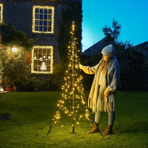 2m Outdoor FairyBell All Surface Pre-Lit Tree, 240 Warm White LEDs