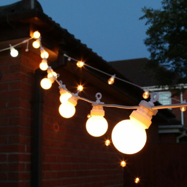 8m Outdoor Festoon Lights, Connectable, Warm White LEDs, 20 Frosted Bulbs, White Cable