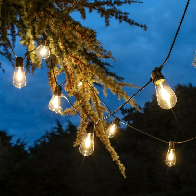 Outdoor Tulip Filament Style Festoon Lights, Connectable,  Warm White LEDs