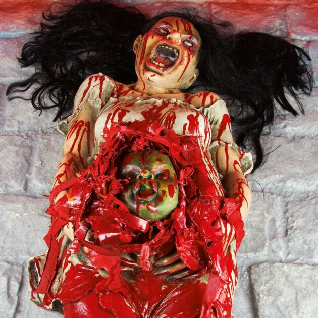 Halloween Battery Light Up Animated Gory Pregnant Woman, 1.6M
