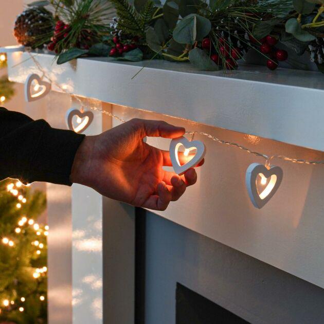 Battery Wooden Heart Fairy Lights, 10 Warm White LEDs