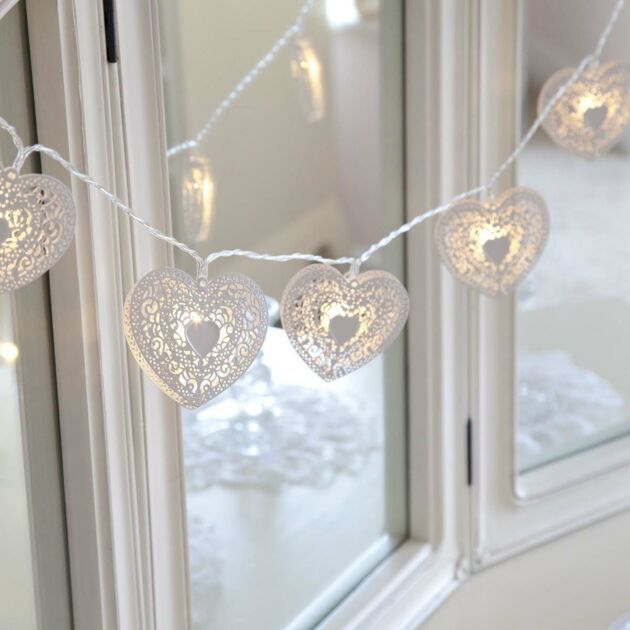 Battery Metal Heart Fairy Lights, 10 Warm White LEDs