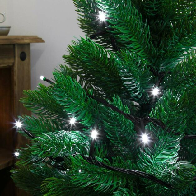 5m White Indoor Christmas Tree Lights, 50 LEDs, Green Cable