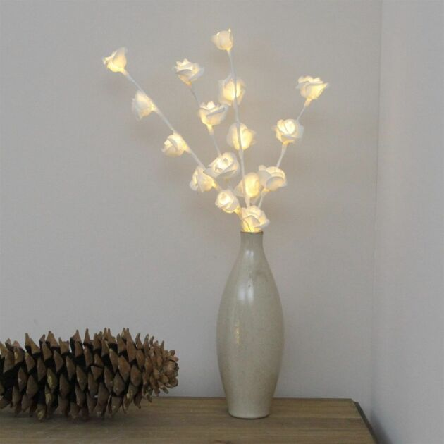 45cm Battery White Rose Twig Lights with Timer, 16 Warm White LEDs