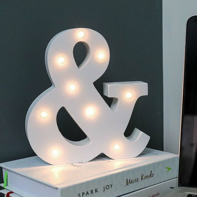 Alphabet '&' Marquee Battery Light Up Circus Letter, Warm White LEDs, 16cm