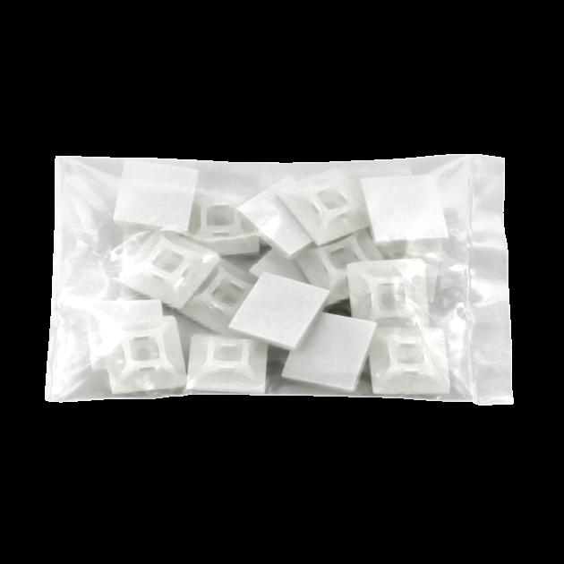 19mm x 19mm White Adhesive Tie Wrap Base, 20pcs