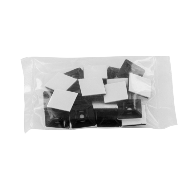 19mm x 19mm Black Adhesive Tie Wrap Base, 20pcs
