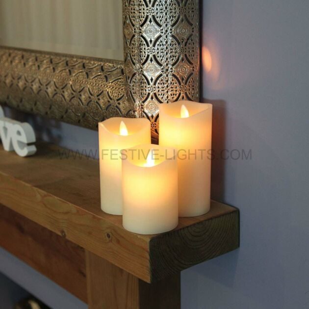 Cream Battery Flickering LED Dancing Flame Candles, 3 Pack