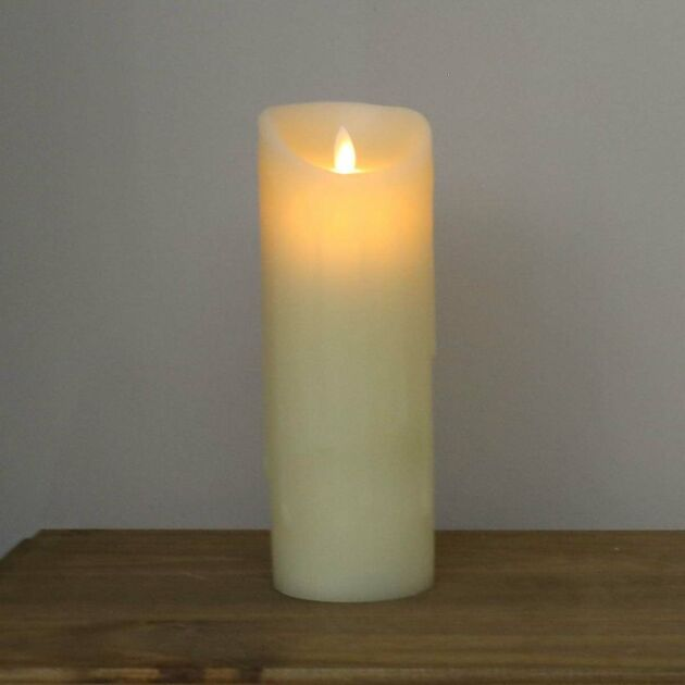 23cm Cream Battery Melted Wax Dancing Flame Candle