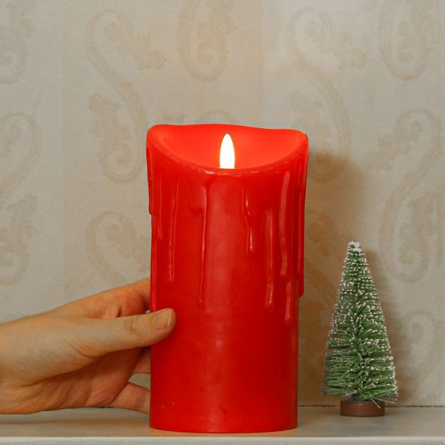 Red Battery Dripping Wax LED Candle, 18cm