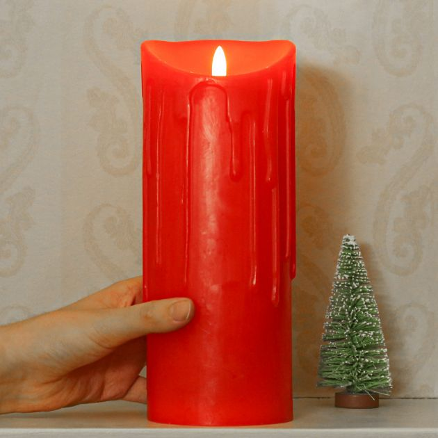Red Battery Dripping Wax LED Candle, 23cm