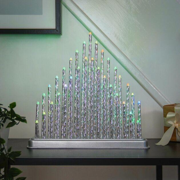 34cm Battery Silver Candle Bridge, Colour Changing LEDs
